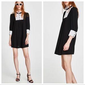 NWOT. Zara black bread wit contrasting bib. Size M